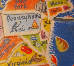 Delaware doesn't even get its own puzzle piece on the Official Flyover America Vintage Map Puzzle. (Nor do Maryland or New Jersey, but don't tell Jenna. She's funny about New Jersey.)