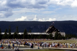 Waiting for Old Faithful. NPS photo by Ed Austin & Herb Jones; 1987.